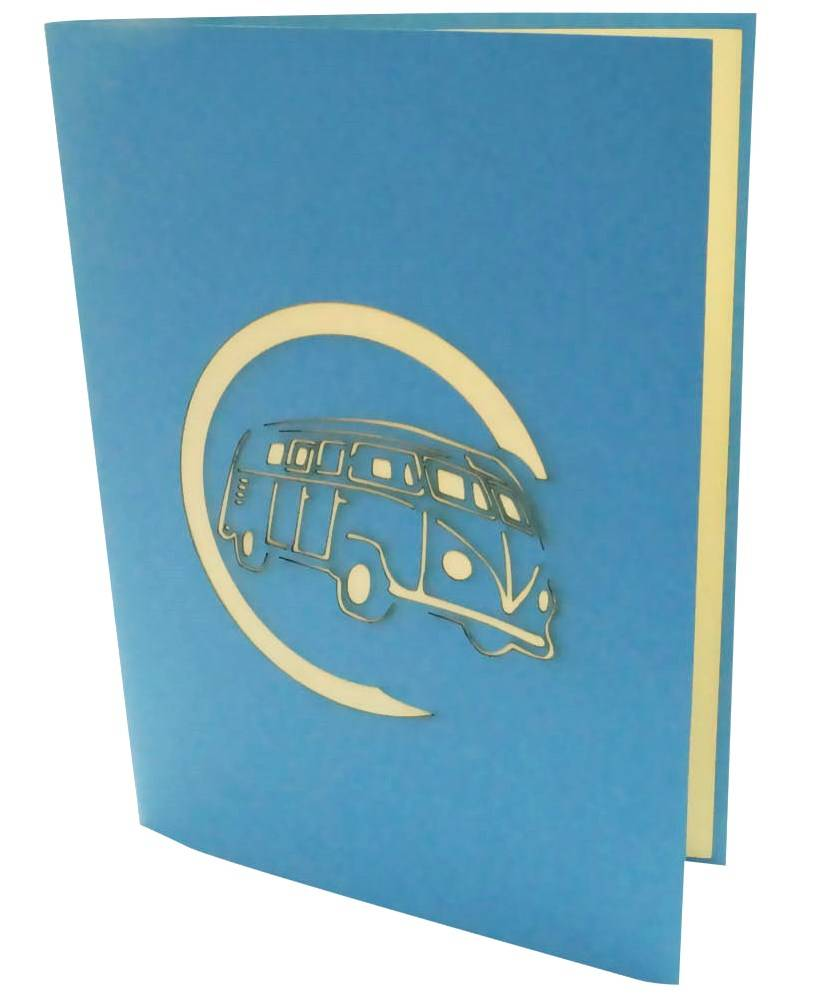 Pop up greeting card with car, Birthday greetings for car fans, Blue Van No. 333