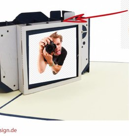 Pop Up 3D card for birthdays  and fotography fans, 3D folding card Camera N319