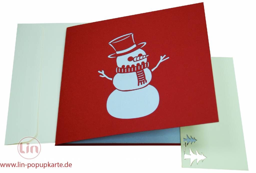 Pop Up Christmas card, greeting card for christmas, Snowman with kids No. 447