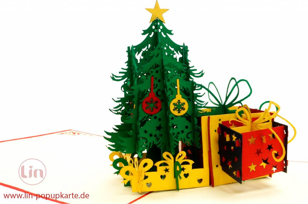 Pop Up Christmas card, greeting card for christmas, Christmas tree with presents, No. 453