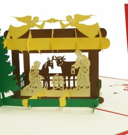 Pop Up Christmas card, greeting card for christmas, Christmas crib N438