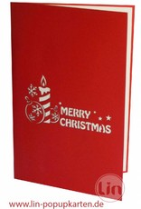 Pop Up Christmas card, greeting card for christmas, Christmas baubles and candles, No. 452