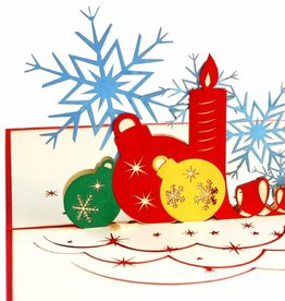Pop Up Card - Christmas Baubles And Candles (No. 452)