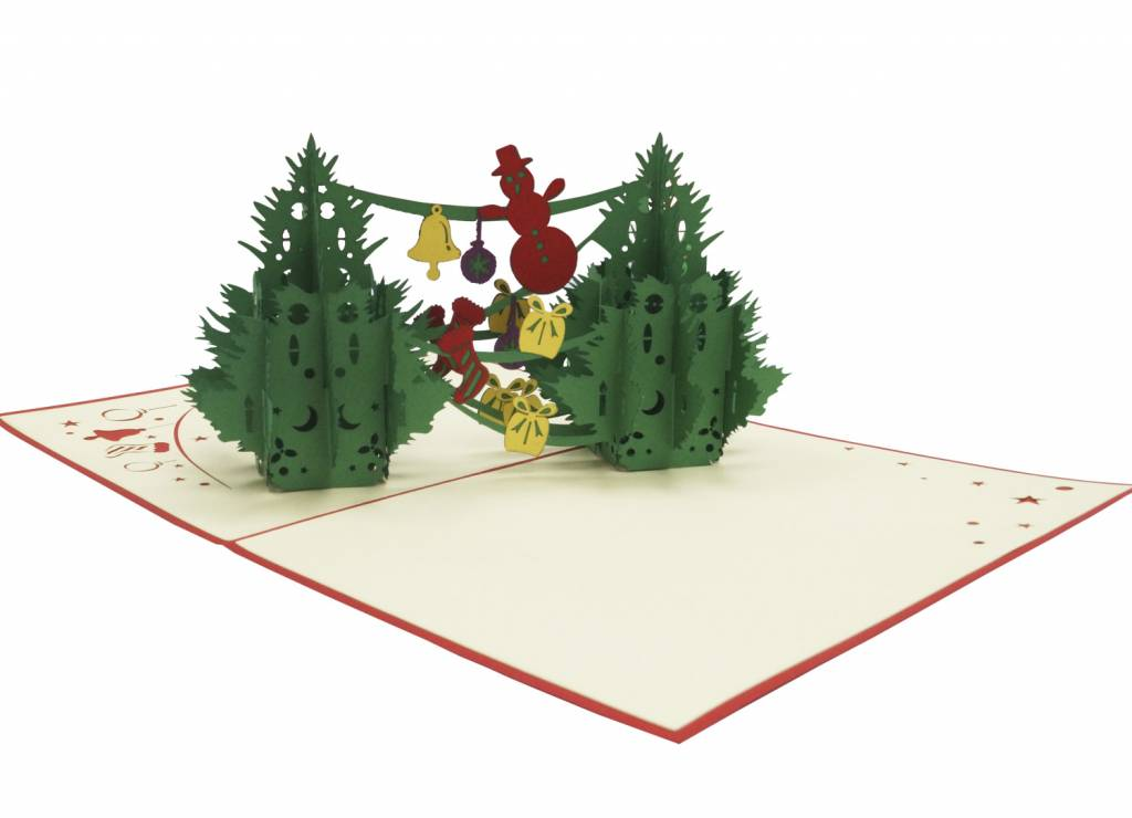 Pop Up Christmas card, greeting card for christmas,  Two Christmas trees, No. 449