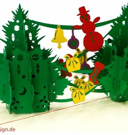 Pop Up Card - Christmas Trees With Decoration (No. 449)