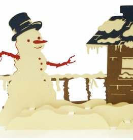 Pop Up Christmas card, greeting card for christmas,  Snowman at the house N445