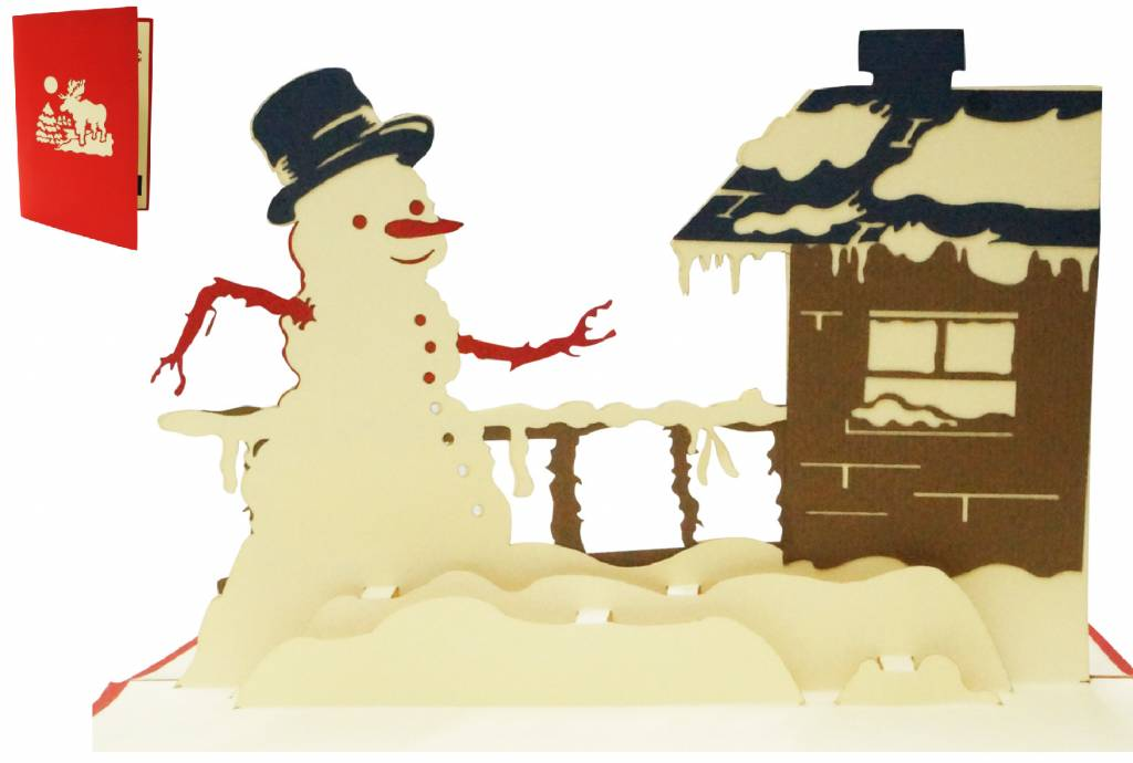 Pop Up Christmas card, greeting card for christmas,  Snowman at the house, No. 445