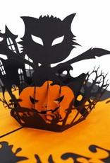 Pop Up Halloween card, greeting card for Halloween, Bat,  Cat and pumpkin, N700