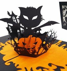 Pop Up Karten Halloween, Halloween Grußkarten, Partyeinladung,  Halloween Katze  N700