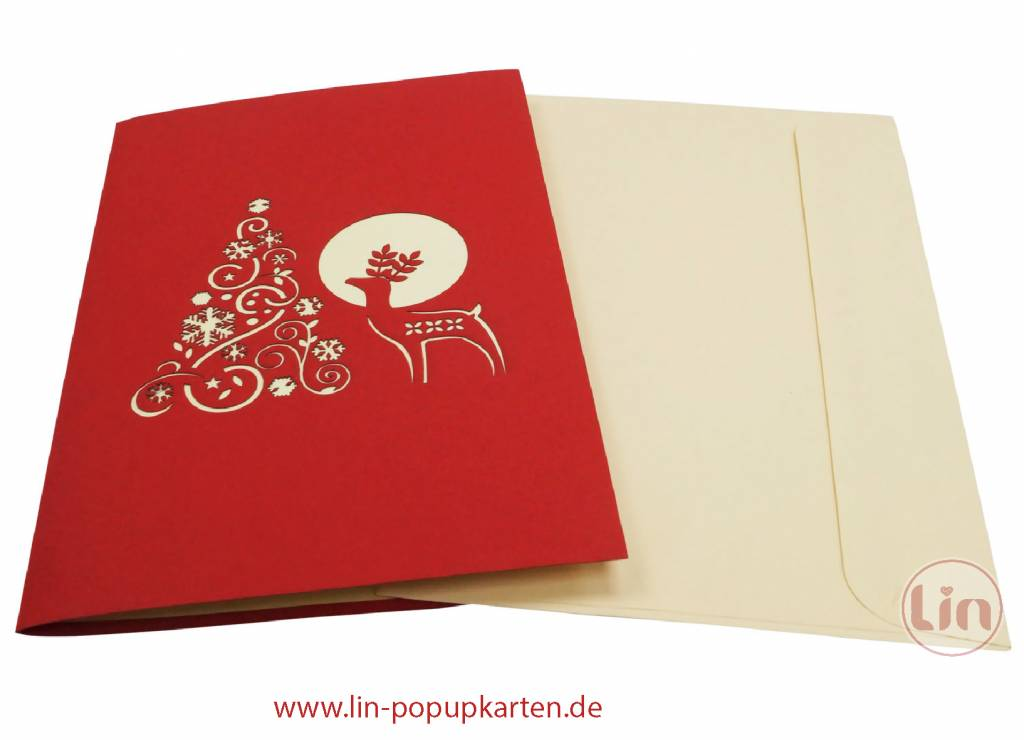 Pop Up Christmas card, greeting card for christmas, Reindeer and christmas tree, No. 451