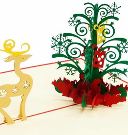 Pop Up Card - Reindeer and Christmas Tree (No. 451)