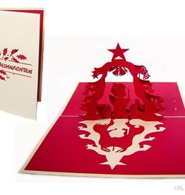 Pop up christmas card, christmas tree with christ child