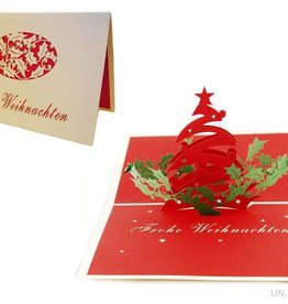 Pop up christmas card, christmas tree with mistletoe