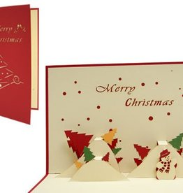 Pop up christmas card, snowman and christmas trees