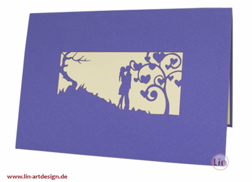 Pop Up 3D Karte, Valentinskarte, Hochzeitseinladung, Hochzeitskarte,  Liebespaar N61