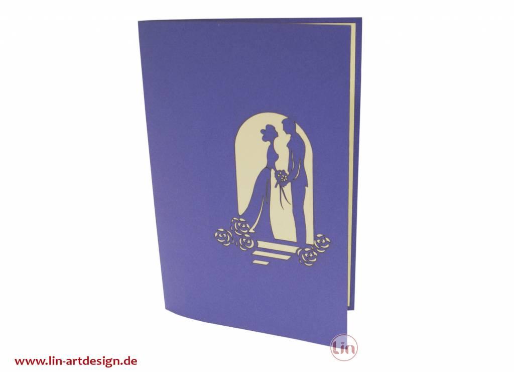 Pop Up 3D Karte, Hochzeitseinladung, Hochzeitskarte, Brautpaar, N78