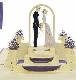 Pop up wedding card, bridal pair at marriage ceremony (purple)