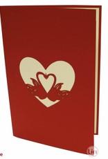Pop Up 3D Karte, Valentinskarte, Hochzeitseinladung, Hochzeitskarte, Schwäne, N87
