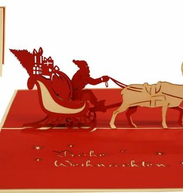 Pop up christmas card, Santa inside sled (var. 1)