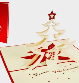 Pop up christmas card, christmas tree and snowman