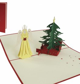 Pop up christmas card, christmas tree and christ child