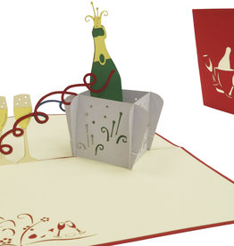 Pop up card, Champaign with glasses (red)