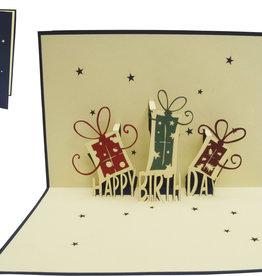 Pop up birthday card, birthday presents (blue)