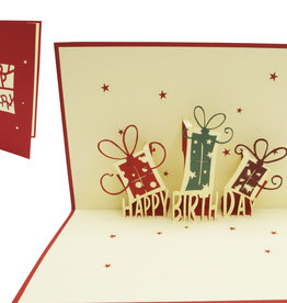 Pop up birthday card, birthday presents (red)