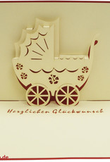 Stork and baby buggy (girl)