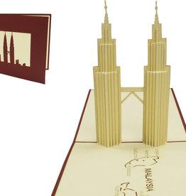 Pop Up 3D Karte, Glückwunschkarte, Reisegutschein, Malaysia, Petronas Tower, N164