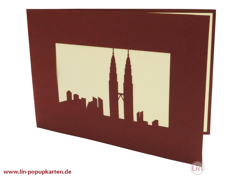 Pop Up 3D Karte, Glückwunschkarte, Reisegutschein, Petronas Tower, N164