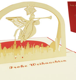 Pop up christmas card, angel beyond the city