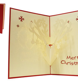 Pop up christmas card, Reindeer with decoration