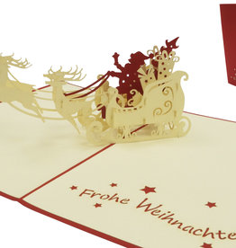 Pop up Christmas card, Santa with sled (GER)