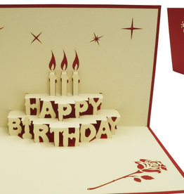 Pop up birthday card, birthday cake with candles (red)