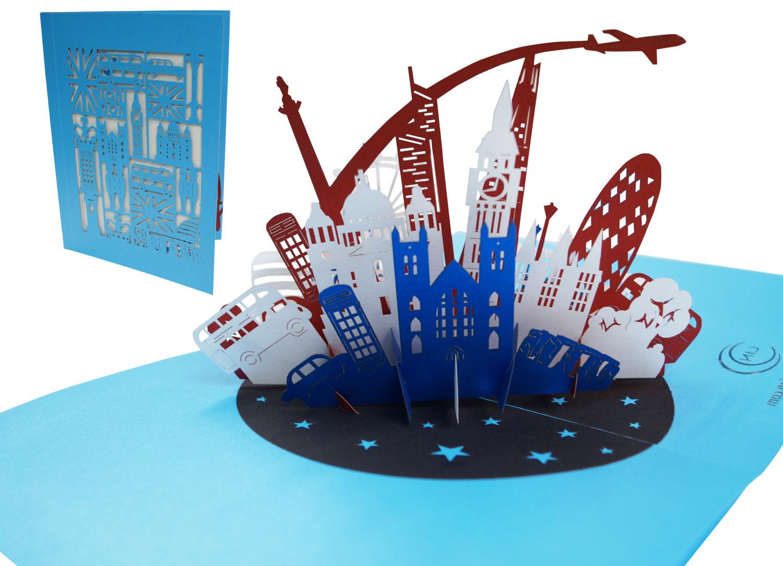 Pop Up 3D Karte Deluxe , Geburtstagskarte, Glückwunschkarte, Reisegutschein, London England, N715