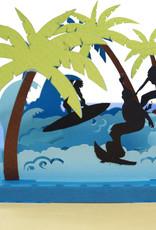 Pop Up 3D Karte Deluxe , Geburtstagskarte, Glückwunschkarte, Reisegutschein, Insel Urlaub Surfer, N714