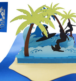 Pop Up Card - Birthday Card, Greeting Card, Travel Voucher, Island Holiday Surfer, N714