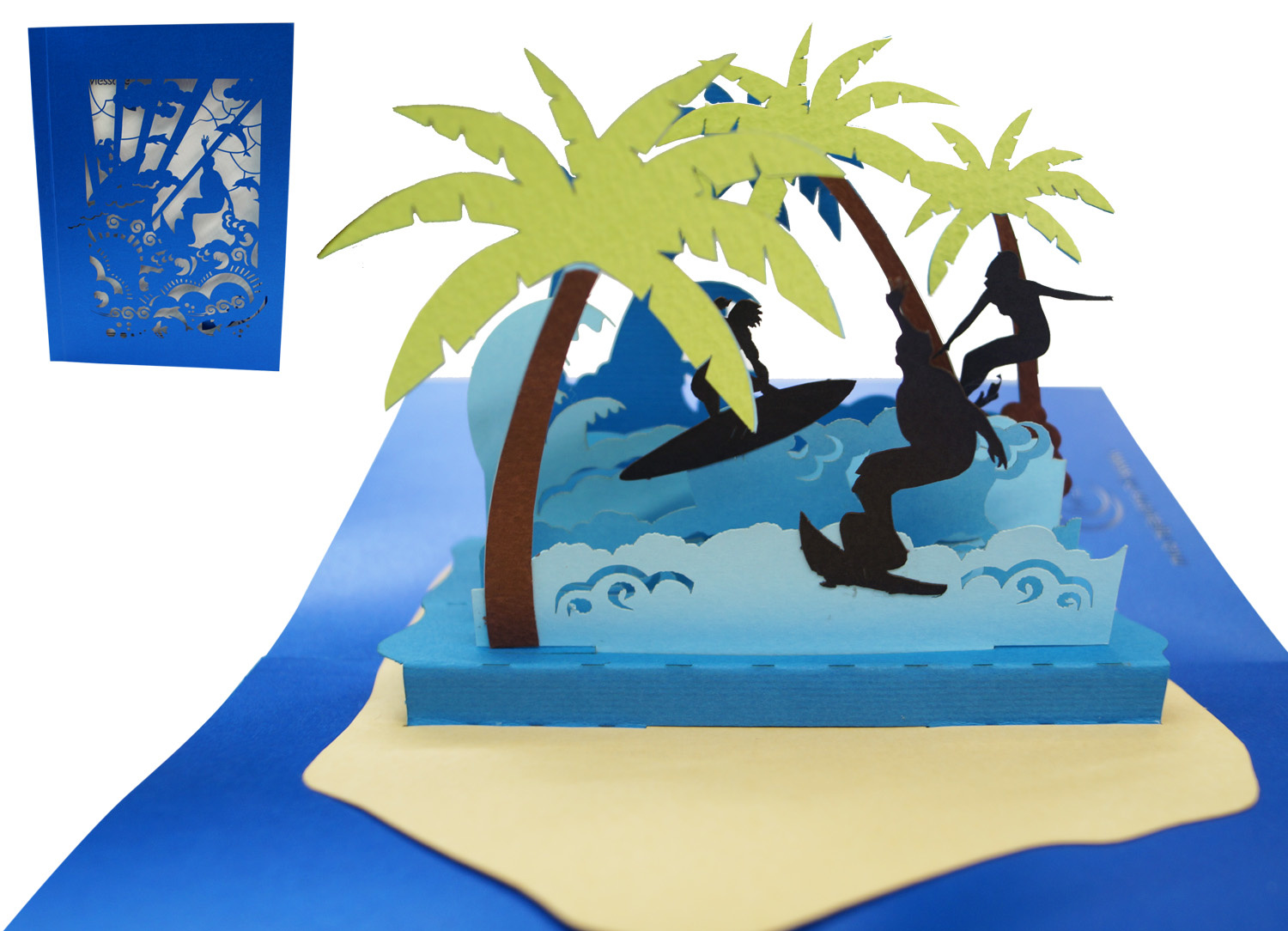 Pop Up 3D cards, Birthday Card, sea Greeting Card, Travel Voucher, Island Holiday Surfer, N714