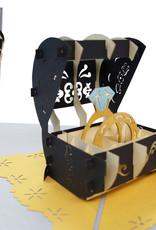 Pop Up 3D Karte Deluxe , Hochzeitskarte, Hochzeitseinladung,  Eheringe, N712