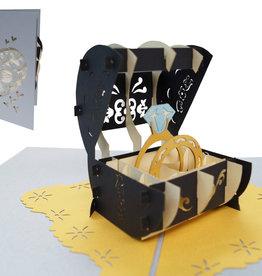 Pop Up 3D Karte, Hochzeitskarte, Verlobte, Hochzeitseinladung,  Eheringe, N712