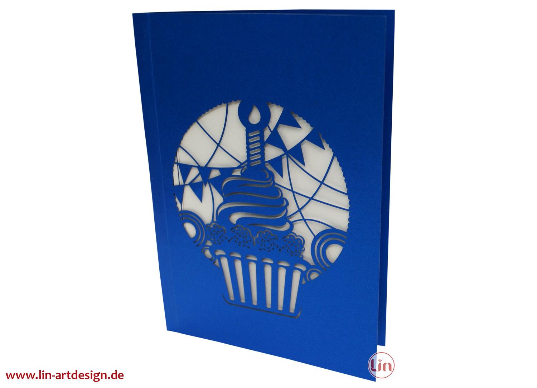 Pop Up 3D Karte Deluxe, Geburtstagskarte , Glückwunschkarte, Kuchen, N711