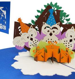 Pop Up 3D Karte Deluxe, Geburtstagskarte , Glückwunschkarte, Eulen, N706
