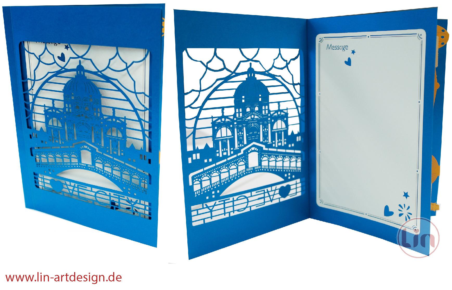 Pop Up 3D Karte Italien , Geburtstagskarte, Glückwunschkarte, Reisegutschein, Venedig Italien,