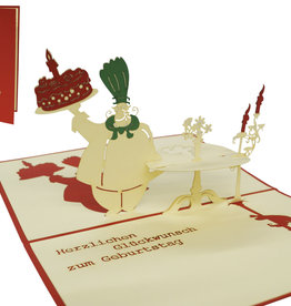Pop up birthday card, chef and tart (red)