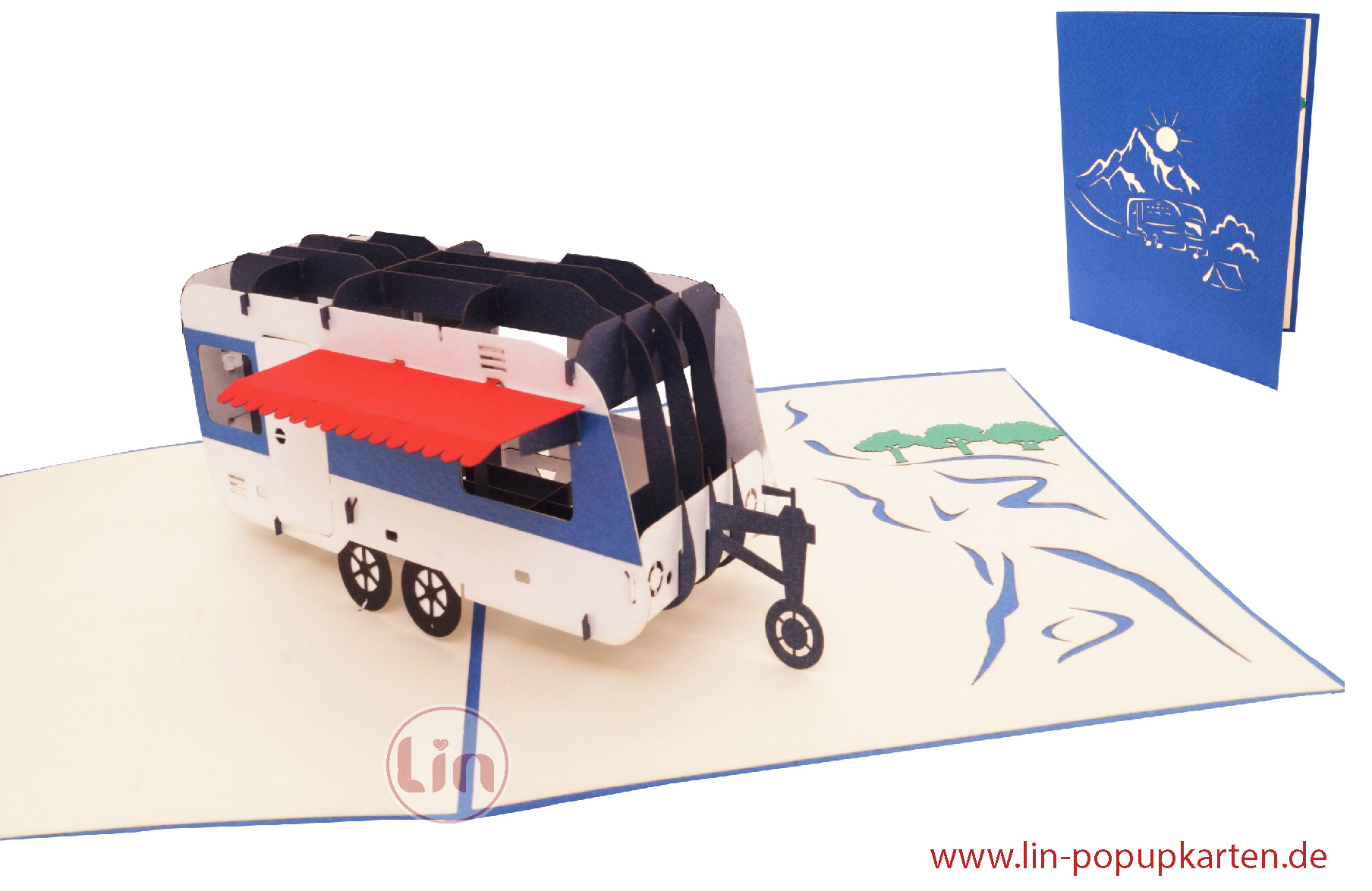 Pop Up Card Caravan Camper, 3D Greeting Cards Retirement Card, Farewell Card, Retirement Card, Birthday Cards, Travel Gift Certificate Vacation, Caravan, N346  - Copy