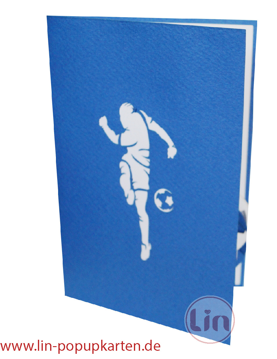 Pop Up Card Football - Blue White, 3D Football Greeting Cards, Schalke, Hamburg, Football Card Schalke, N306