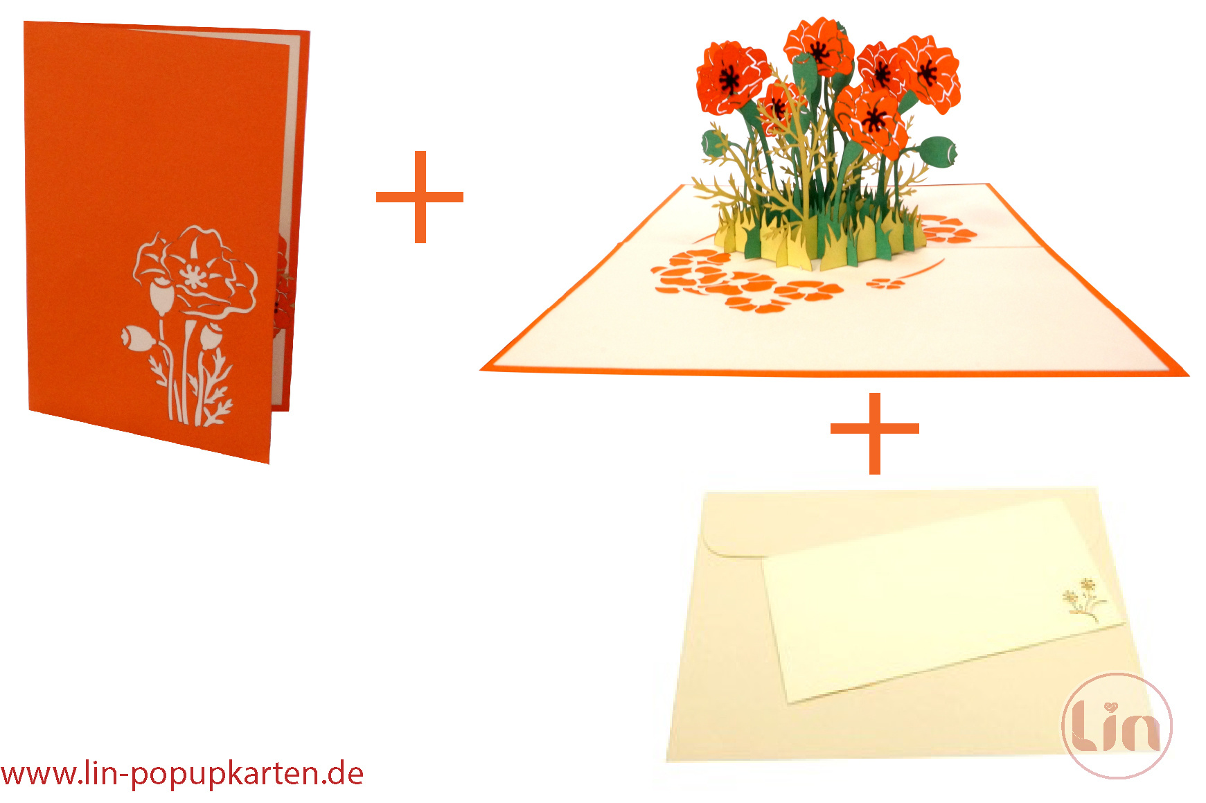 Pop Up Card Flower, POP UP Card Birthday, 3D Greetingcard Flowers, Card, Foldingcard, Birthdaycard, Good Luck, get well soon, Wellness coupon,orange flowers, poppy flowers,N354