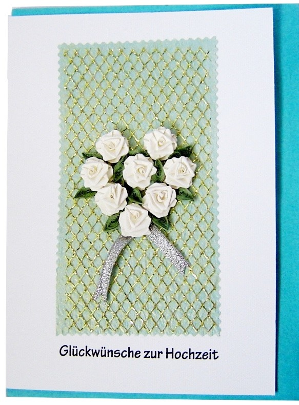Quilling card white roses heart