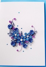 Quilling card blue flowers
